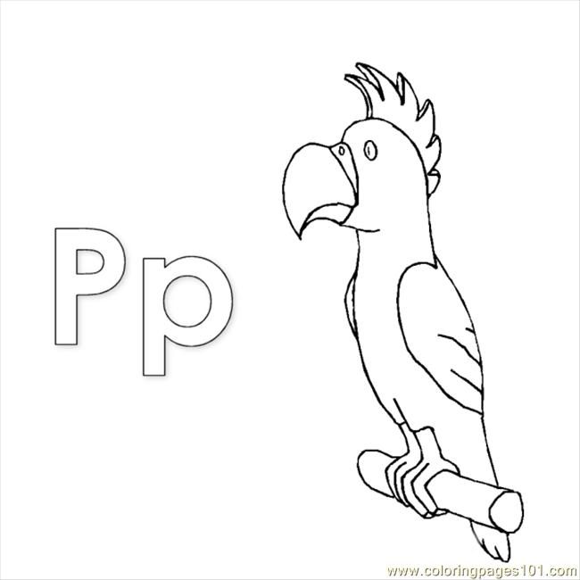 P Parrot Coloring Page
