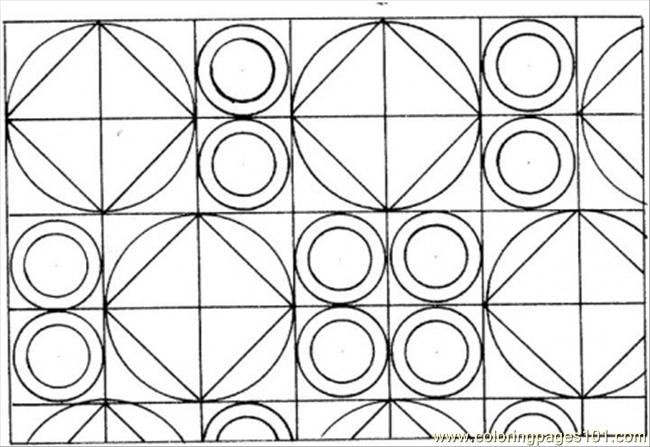 Circles And Squares Coloring Page Free Pattern Coloring