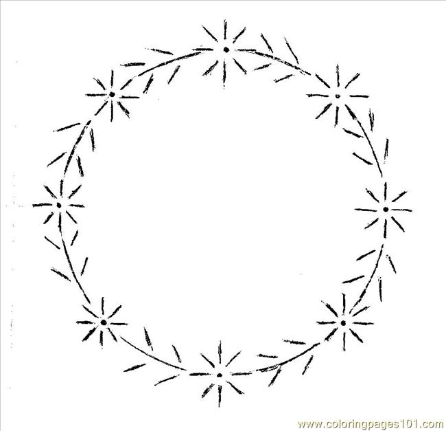 Daisy Wreath Pattern Coloring Page