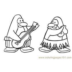 Penguin play guitar Free Coloring Page for Kids