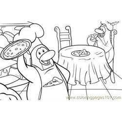 Penguin cook Free Coloring Page for Kids