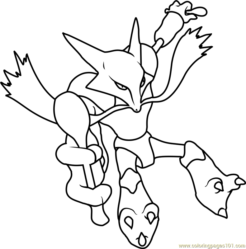 Alakazam Pokemon Coloring Page For Kids Free Pokemon Printable Coloring Pages Online For Kids Coloringpages101 Com Coloring Pages For Kids