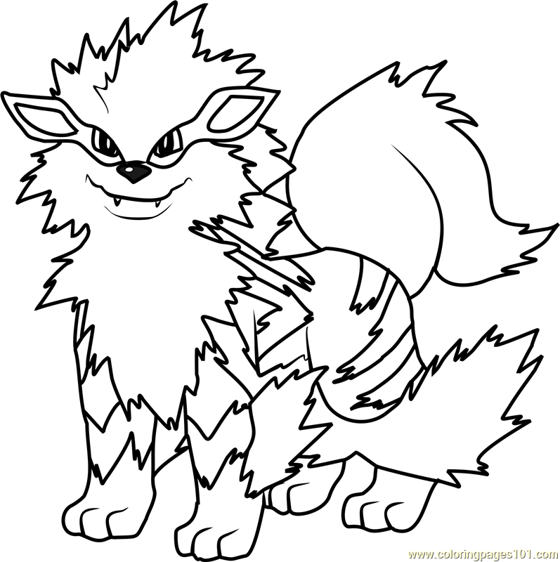 Pokemon Coloring Pages Online Arcanine Pokemon Coloring Page  Free Pokémon Coloring Pages .