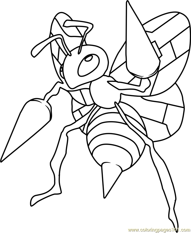 Beedrill Pokemon Coloring Page Free Pokmon Coloring Pages