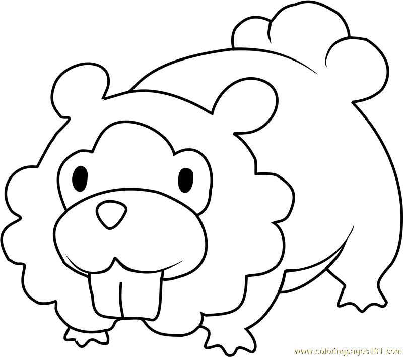 Bidoof Pokemon Coloring Page - Free Pokémon Coloring Pages ...
