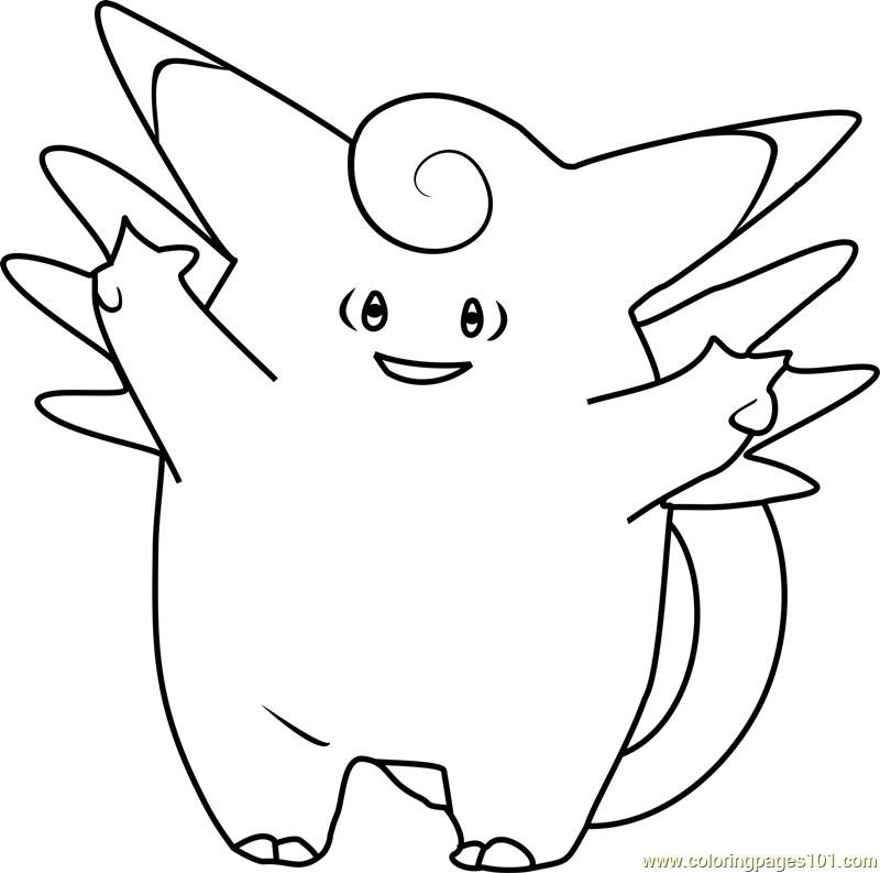 clefable pokemon coloring page