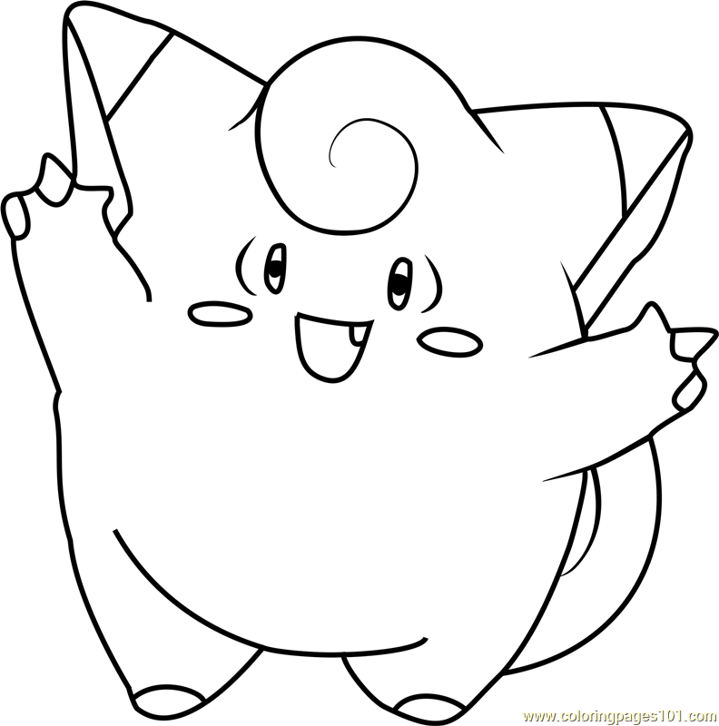 Clefairy Pokemon Coloring Page Free Pok mon Coloring