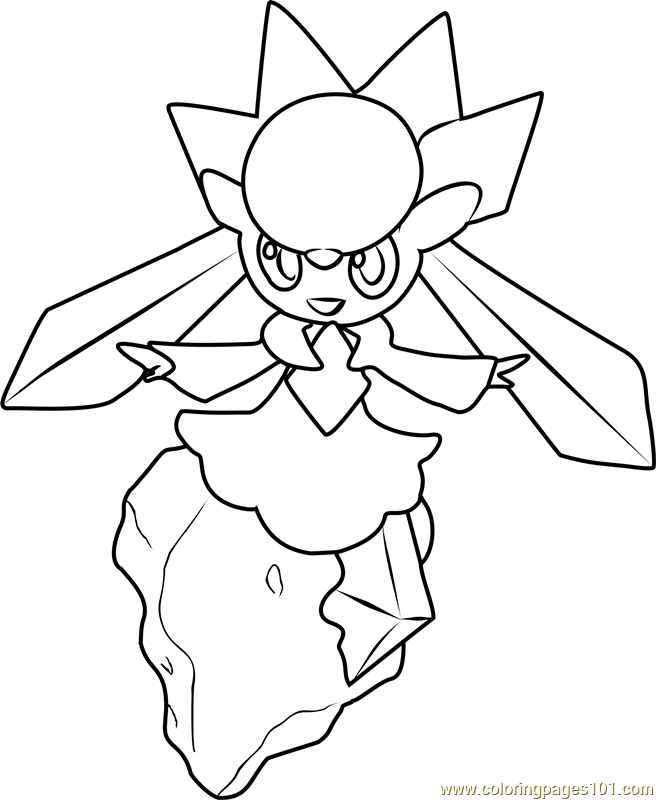 Diancie Pokemon Coloring Page