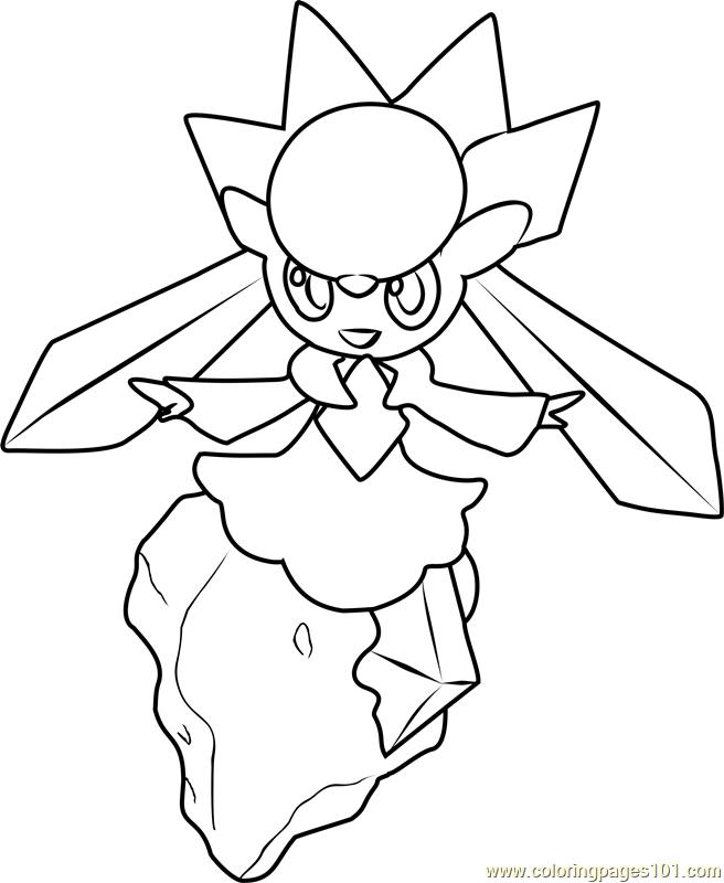 Diancie Pokemon Coloring Page