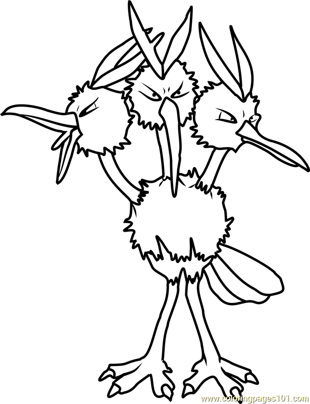 77974 Dodrio Pokemon Coloring Page