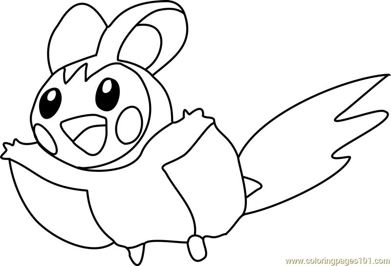 emolga pokemon coloring page
