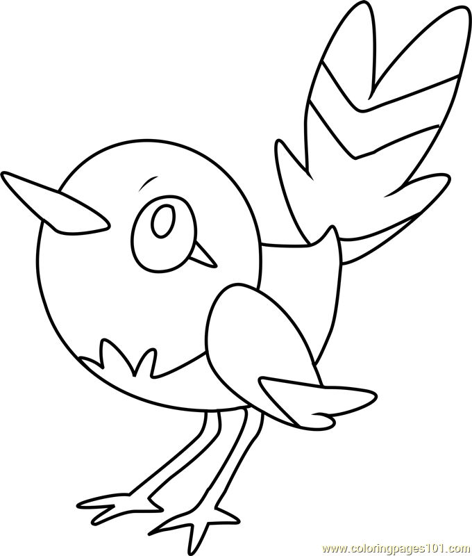 fletchling pokemon coloring page