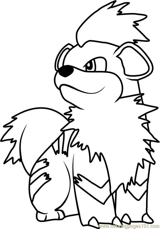 Growlithe pokemon coloring page