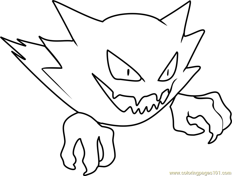 Haunter Pokemon Coloring Page - Free Pokémon Coloring
