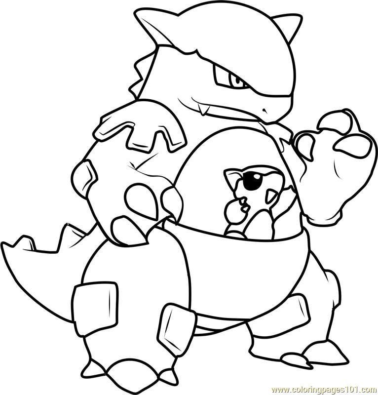 Kangaskhan Pokemon Coloring Page - Free Pokémon Coloring ...