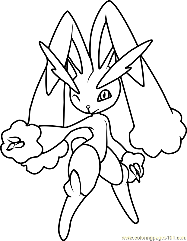 pokemon buneary coloring page - lopunny and lucario coloring pages coloring pages