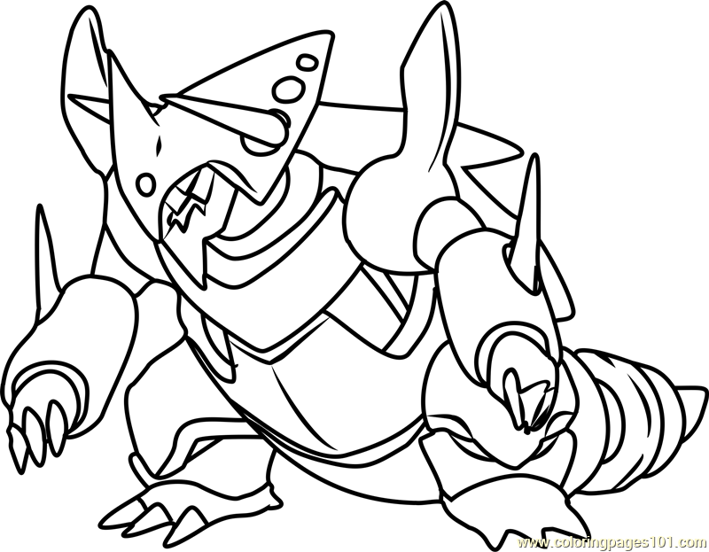 Mega Aggron Pokemon Coloring Page - Free Pokémon Coloring ...