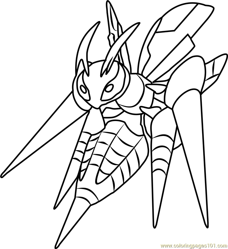 Mega Beedrill Pokemon Coloring Page Free Pokmon Coloring Pages