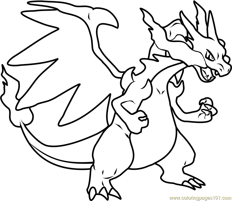 mega charizard x pokemon coloring page