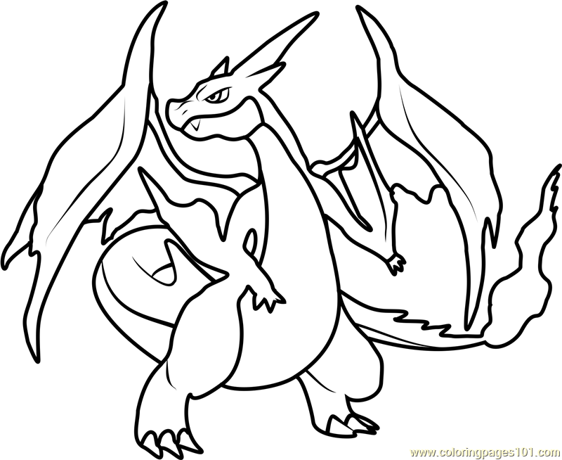mega charizard y pokemon coloring page - Pokemon Coloring Pages Free