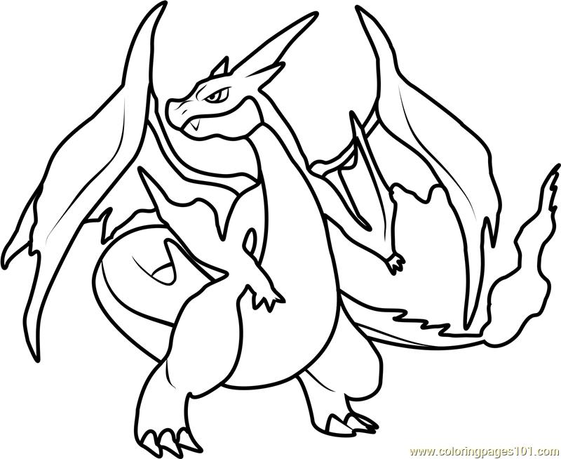 Mega Charizard Y Pokemon printable coloring page for kids ...