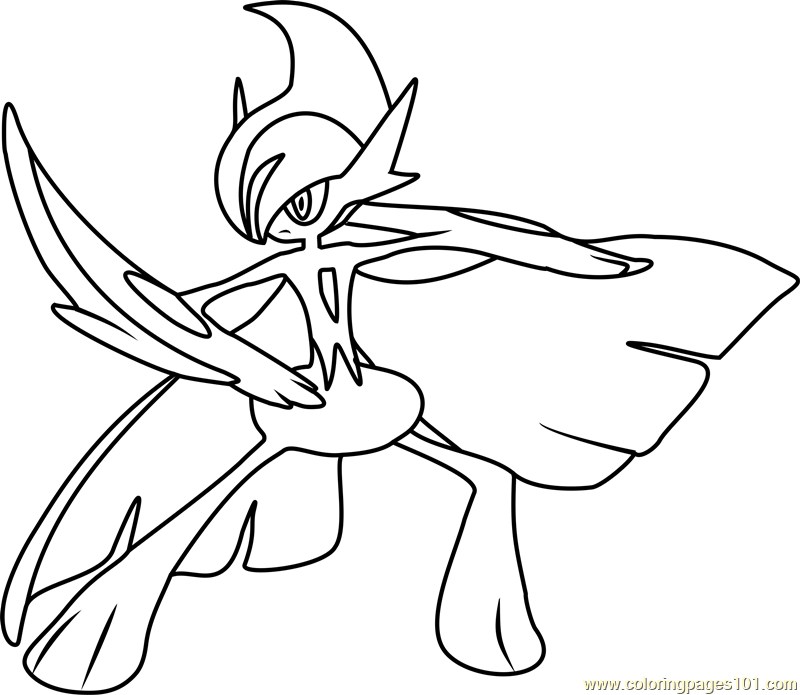 Mega Gallade Pokemon Coloring Page Free Pokmon Coloring Pages