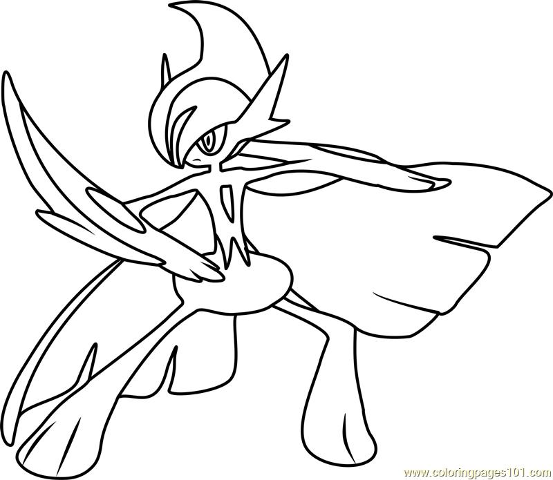 Mega Gallade Pokemon Coloring Page - Free Pokémon Coloring ...