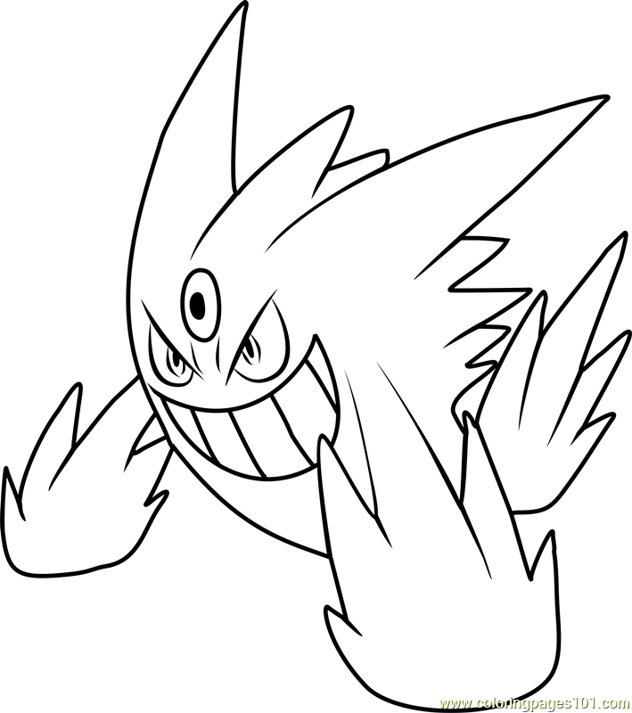 Mega Gengar Pokemon Coloring Page Free Pokmon Coloring Pages