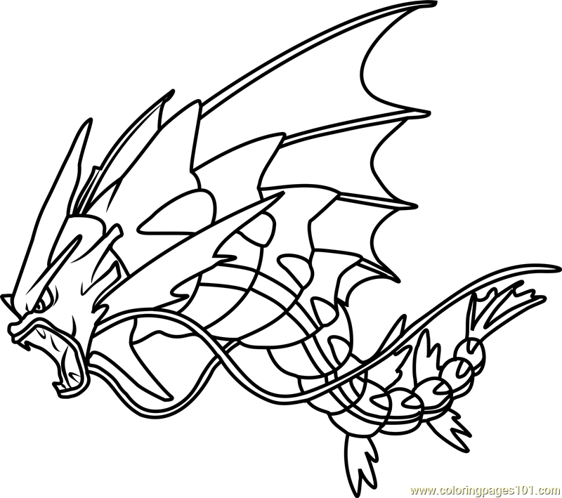Mega Gyarados Pokemon Coloring Page Free Pokmon Coloring Pages