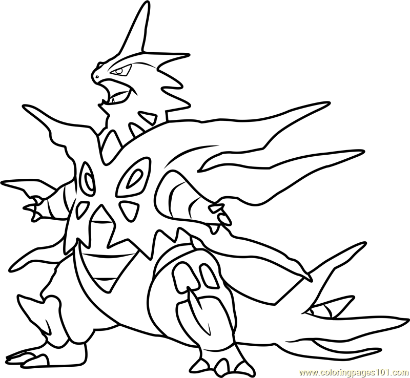 Mega Tyranitar Pokemon Coloring Page Free Pokmon Coloring Pages