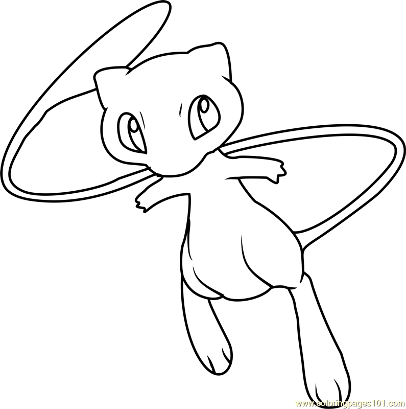 Mew Pokemon Coloring Page Free