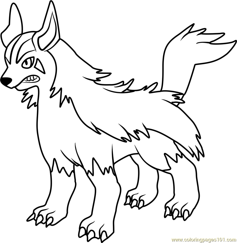 mightyena pokemon coloring page