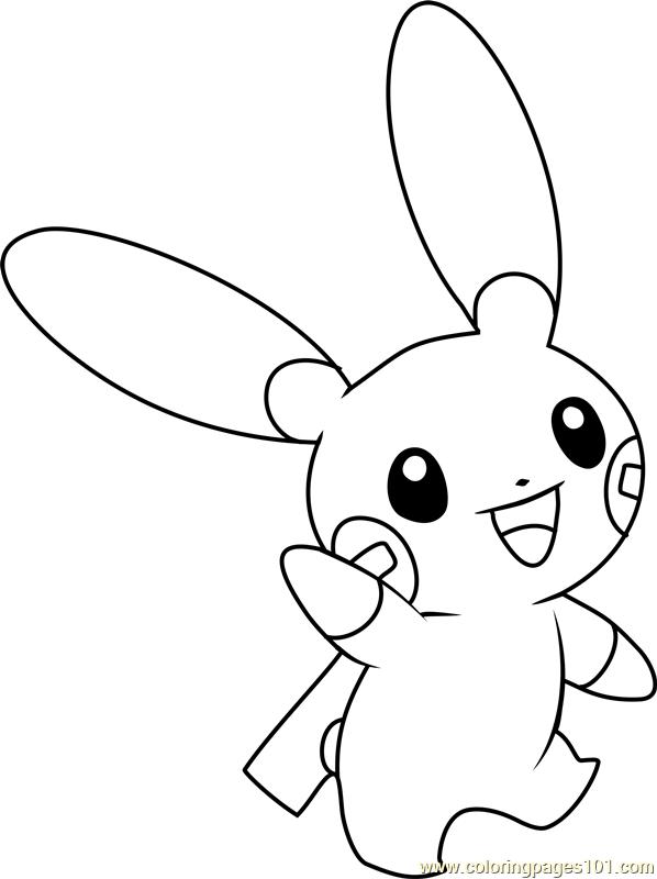 Minun Pokemon Coloring Page Free