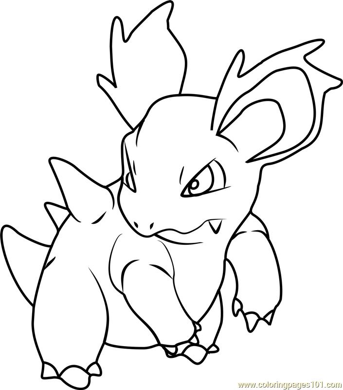 Nidorina Pokemon printable coloring page for kids and adults