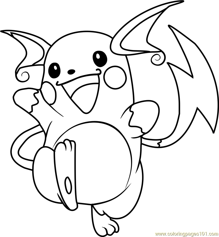 raichu pokemon coloring page