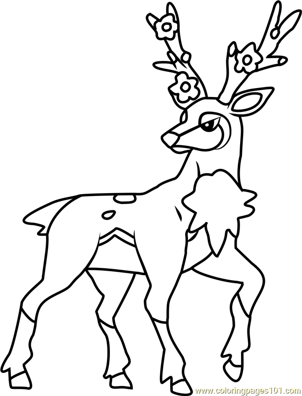sawsbuck pokemon coloring page