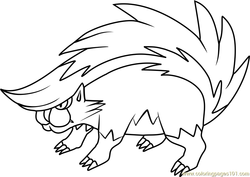 Skuntank Pokemon Coloring Page - Free Pokémon Coloring ...