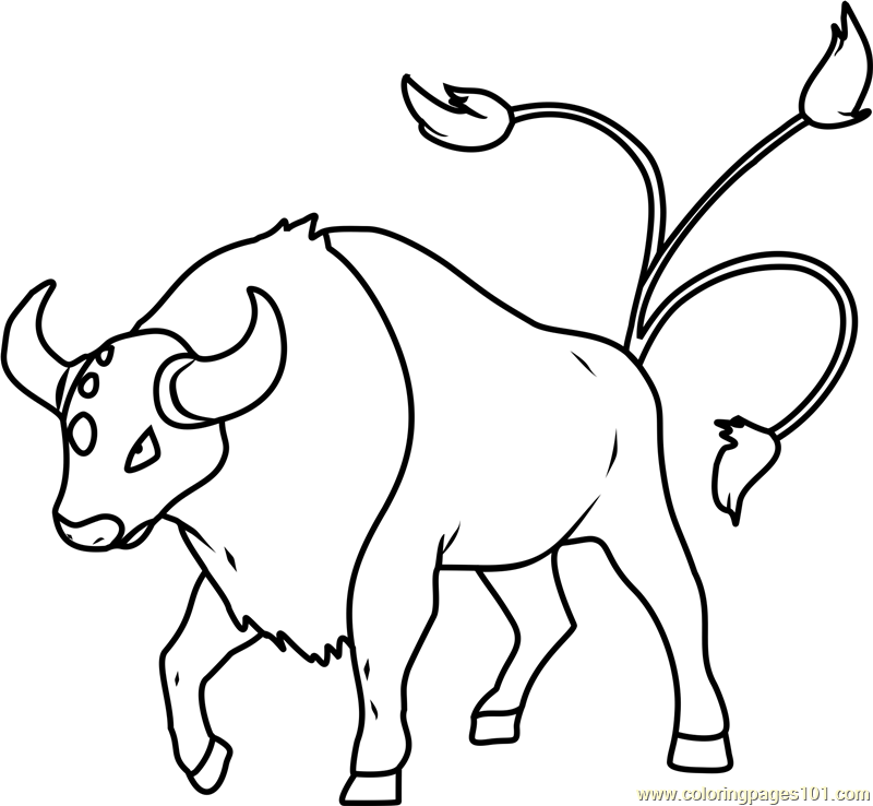 tauros pokemon coloring page - Coloring Pages 101