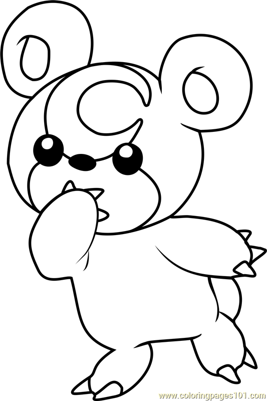 teddiursa pokemon coloring page