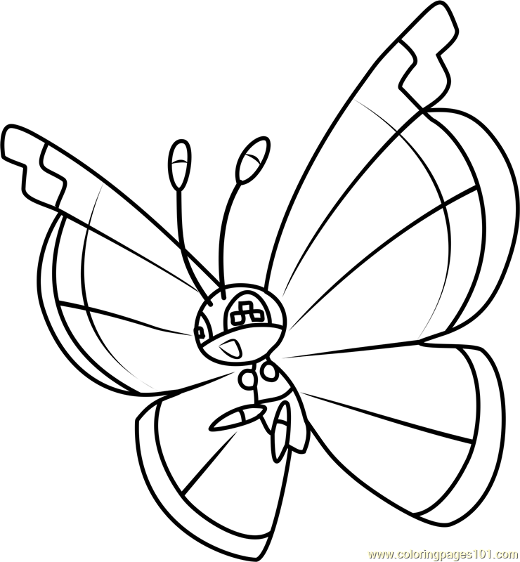 Vivillon Pokemon Coloring Page Free Pok 233 Mon Coloring