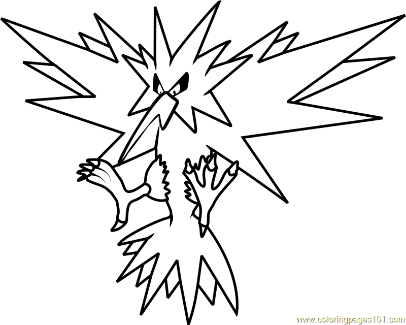 zapdos pokemon coloring page