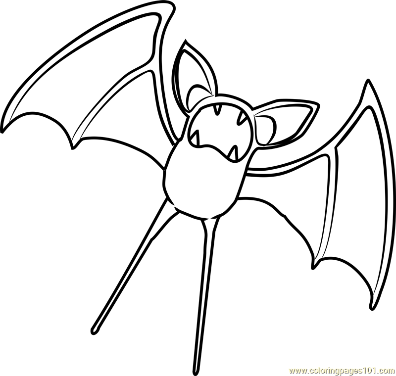 zubat pokemon coloring page