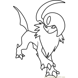 Absol Pokemon Free Coloring Page for Kids