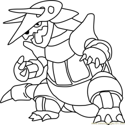 Aggron Pokemon Free Coloring Page for Kids