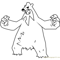 Beartic Pokemon Free Coloring Page for Kids