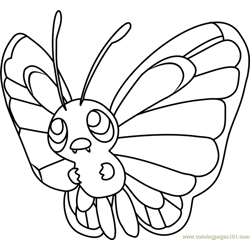 Butterfree Pokemon Free Coloring Page for Kids