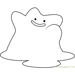 Ditto Pokemon Free Coloring Page for Kids
