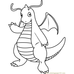 Dragonite Pokemon Free Coloring Page for Kids