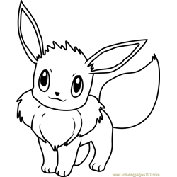 Eevee Pokemon Free Coloring Page for Kids