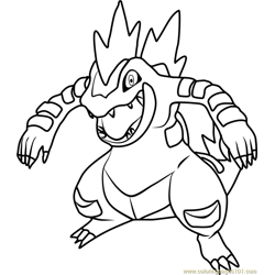 Feraligatr Pokemon Free Coloring Page for Kids